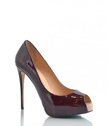 Лаковые туфли Paoletti на платформе с каблуком бордовые