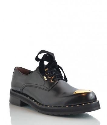 Женские кожаные туфли Laura Bellariva с бархатными шнурками черные