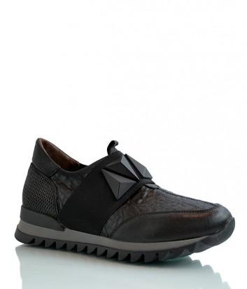 Кожаные кроссовки Laura Bellariva с декорированной резинкой черные
