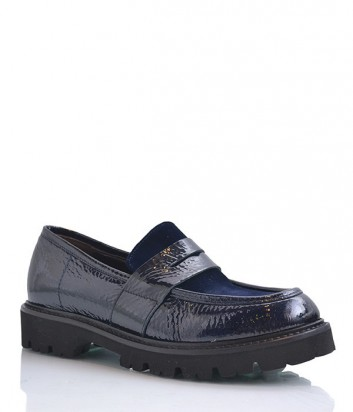 Лаковые туфли-лоферы Laura Bellariva с бархатной вставкой синие