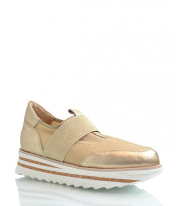 Кожаные кроссовки Laura Bellariva с резиновыми вставками золотые