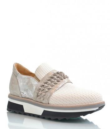 Женские кроссовки Laura Bellariva из текстурной кожи серо-бежевые