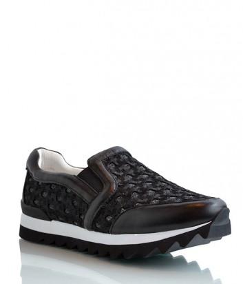 Женские кожаные кроссовки Logan с текстильными вставками черные