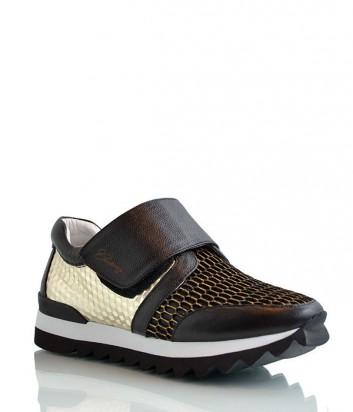 Женские кожаные кроссовки Logan комбинированные черно-золотые