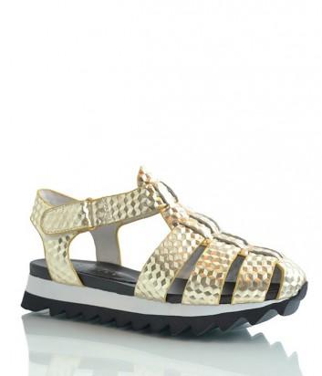 Кожаные сандалии Logan с ламинированным эффектом золотые