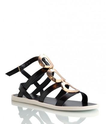 Кожаные сандалии Tosca Blu декорированы фурнитурой черные