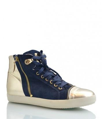 Замшевые кеды Cesare Paciotti с золотыми кожаными вставками синие