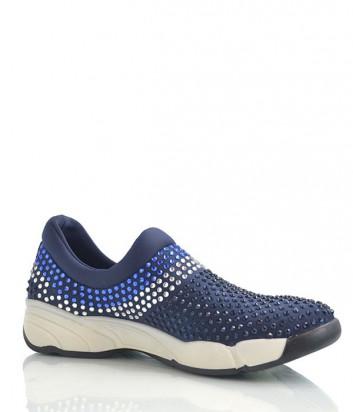 Стильные женские кроссовки в россыпи кристаллов синие