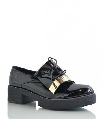 Лаковые туфли-броги с закругленным носочком черные