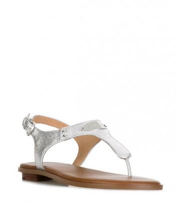 Кожаные сандалии Michael Kors Plate серебристые