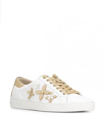 Кожаные кеды Michael Kors Lola белые с золотой аппликацией