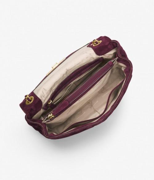 Замшевая сумка Michael Kors Sloan на ручке-цепочке сливовая
