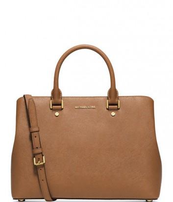Роскошная сумка Michael Kors Savannah из сафьяновой кожи рыжая