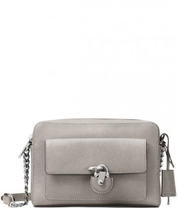 Кожаная сумка через плечо Michael Kors Emma с внешним карманом серая