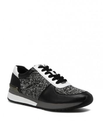 Кожаные кроссовки Michael Kors Allie с текстильными вставками черные