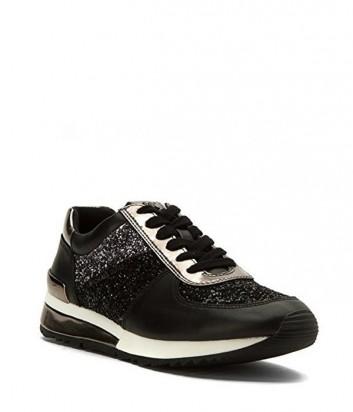 Кожаные кроссовки Michael Kors Allie с глиттерными вставками черные