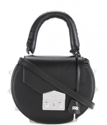 Кожаная сумка Salar Mimi декорированная шипами черная