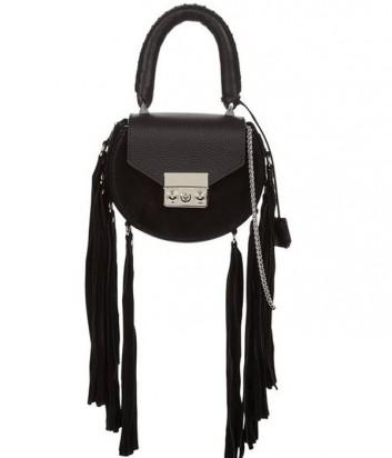 Кожаная сумка Salar Mimi декорированная бахромой черная