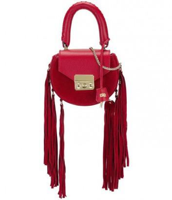 Кожаная сумка Salar Mimi декорированная бахромой красная