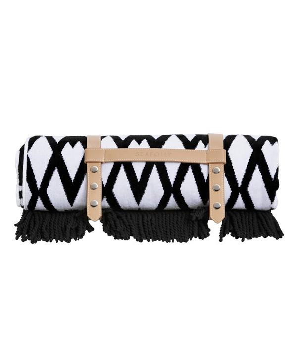 Пляжное полотенце-коврик Seafolly Persian черно-белое