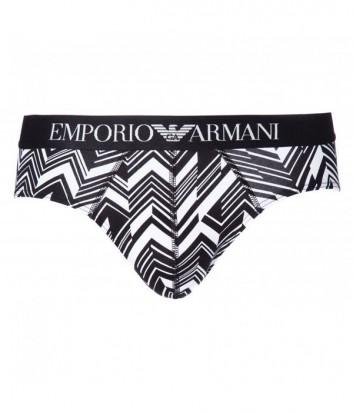 Трусы-брифы Emporio Armani с зигзагообразным принтом и лого на поясе
