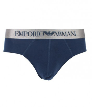 Брифы Emporio Armani синие с серебряной брендированной резинкой