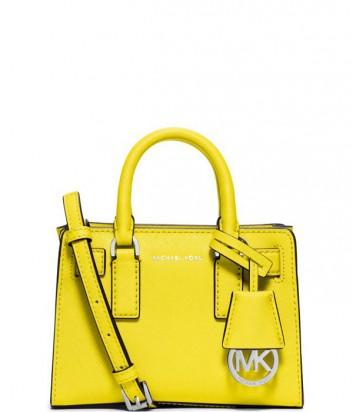 Маленькая сумка Michael Kors Dillon из кожи сафьяно желтая