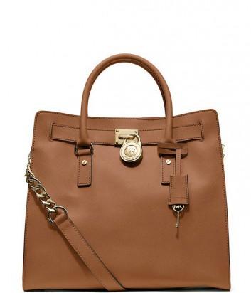 Большая кожаная сумка Michael Kors Hamilton рыже-коричневая