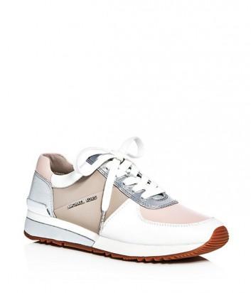 Кожаные кроссовки Michael Kors Allie белые с розовыми вставками