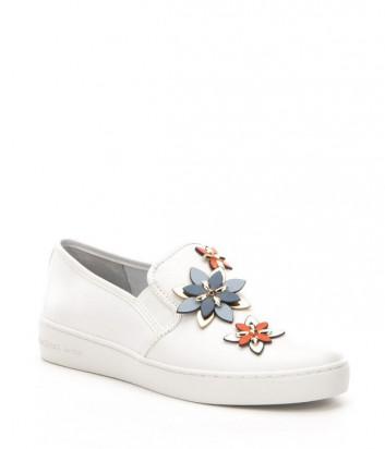 Кожаные слипоны Michael Kors Heidi белые с яркими цветочками