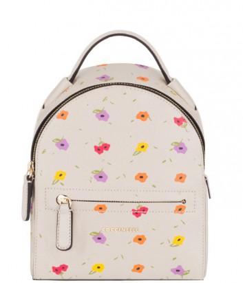Маленький кожаный рюкзак Coccinelle с цветочным принтом бежевый