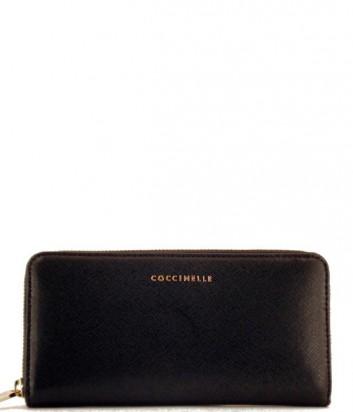 Женский кошелек Coccinelle из кожи сафьяно на молнии черный