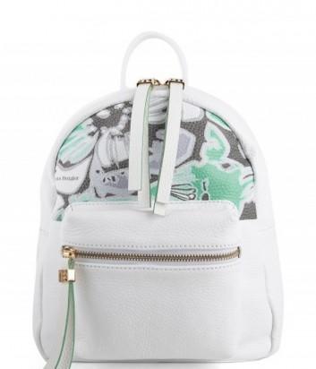Кожаный рюкзак Sara Burglar белый с рисунком