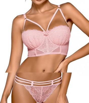 Комплект Ewa Bien Safona бюстье push up B244 и стринги C212 розовый