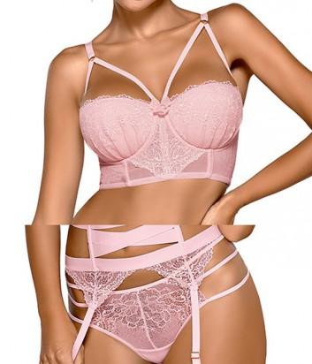 Комплект Ewa Bien Safona бюстье push up B244 и стринги C213 розовый