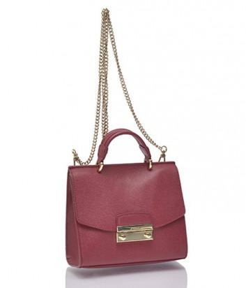 Кожаная сумка Furla Julia с плечевой ручкой-цепочкой бордовая
