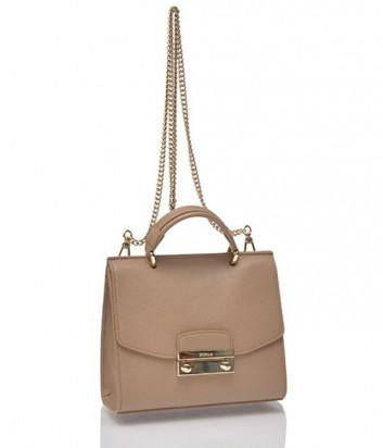 Кожаная сумка Furla Julia с плечевой ручкой-цепочкой бежевая