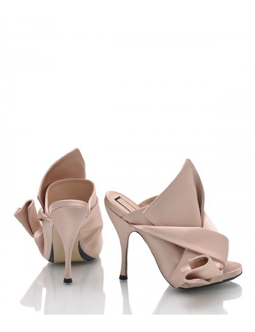 Атласные мюли N 21 на каблуке розовые