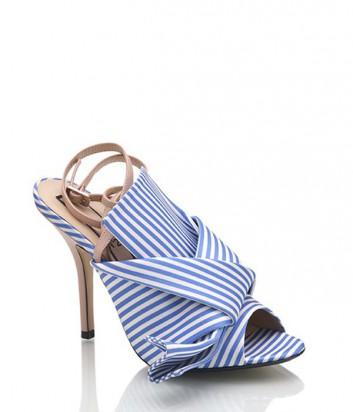 Босоножки N 21 в полосатый бело-голубой принт
