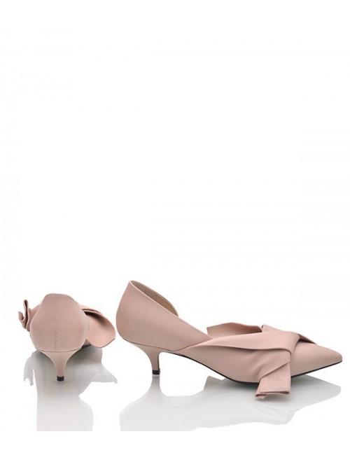Кожаные туфли N 21 с бантиком нюдовые