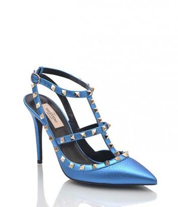 Босоножки Valentino металлизированные синие