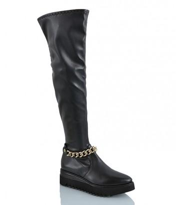 Кожаные сапоги чулки Laura Bellariva 7056 черные