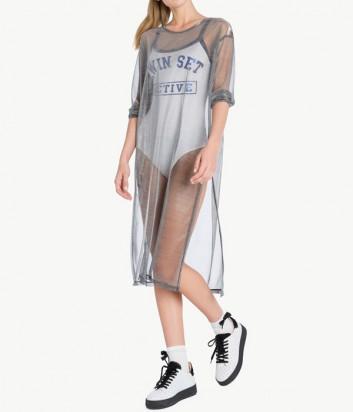 Платье Twin Set IA79BB с ламинированной отделкой серое