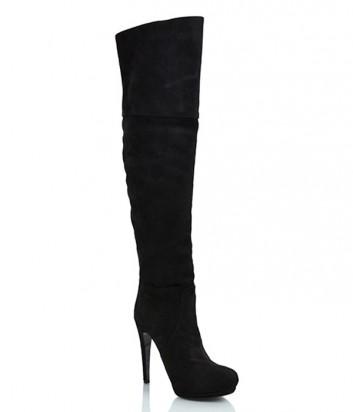 Замшевые ботфорты Loriblu на высоком каблуке черные