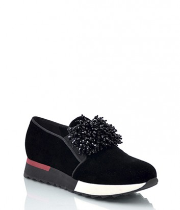 Бархатные кроссовки Jeannot 71160 с декором черные