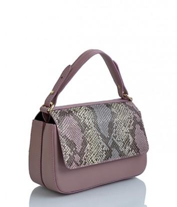 Двойная сумка Sara Burglar 945 со змеиным принтом розовая