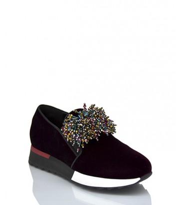 Бархатные кроссовки Jeannot 71160 с декором бордовые