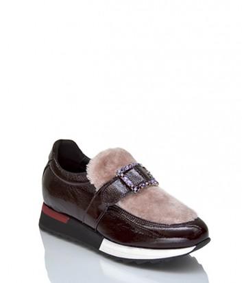 Лаковые кроссовки Jeannot 71167 декорированные мехом бордовые