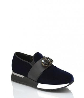 Бархатные кроссовки Jeannot 71161 с декором синие