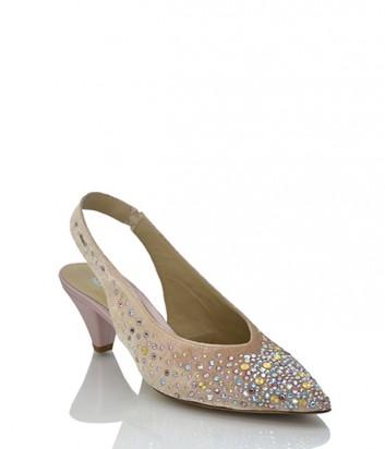 Бархатные туфли Norma J.Baker 2157 нежно-розовые с кристаллами